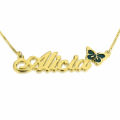 24k Gold Plated Classic Name Necklace with Colored Symbols