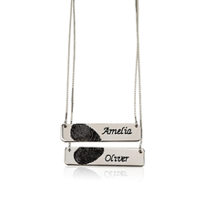 Collar de Barra con Huella Digital para Parejas