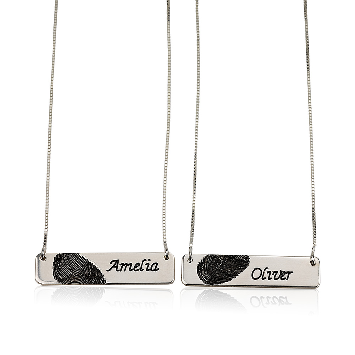 Fingerprint Couple Bar Necklaces - Picture 2