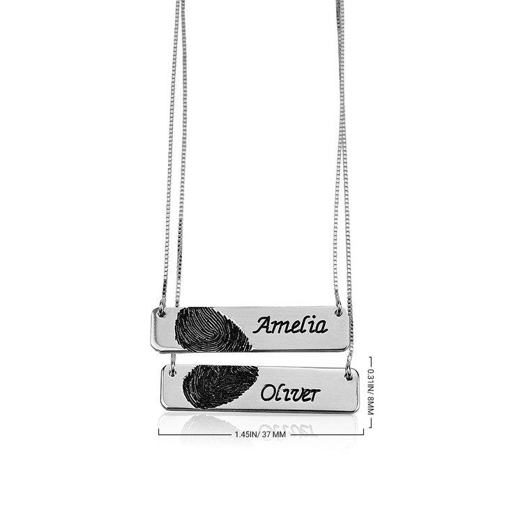 Collar de Barra con Huella Digital para Parejas - Information
