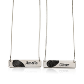 Fingerprint Couple Bar Necklaces