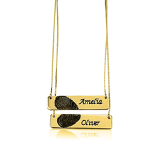 Fingerprint Couple Bar Necklaces in Gold Plating