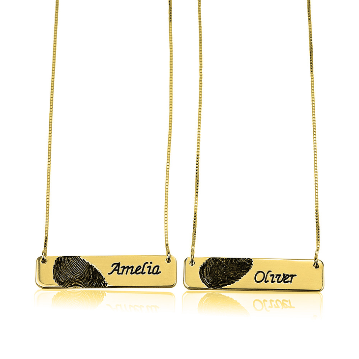 Fingerprint Couple Bar Necklaces in Gold Plating   - Picture 2