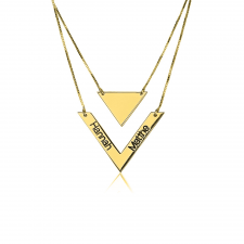 Chevron and Triangle Engraved Layered Necklace in Gold Plating