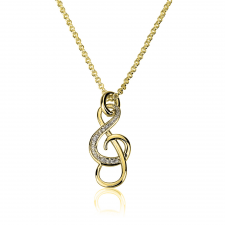 Cubic Zirconia Sol Necklace in Gold Plating