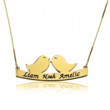 Mother Bird Necklace with Engraved Names in Gold Plating