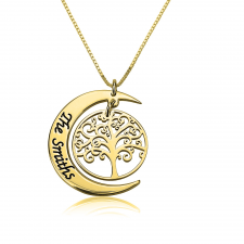 Family Hanging Tree and Moon Necklace in Gold Plating