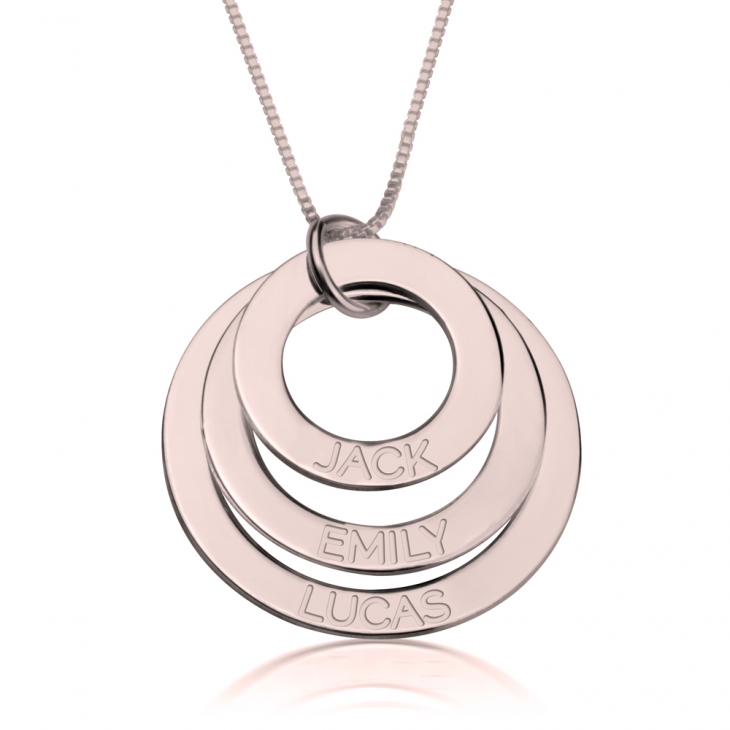 Rose Gold Engraved Rings Mother Necklace