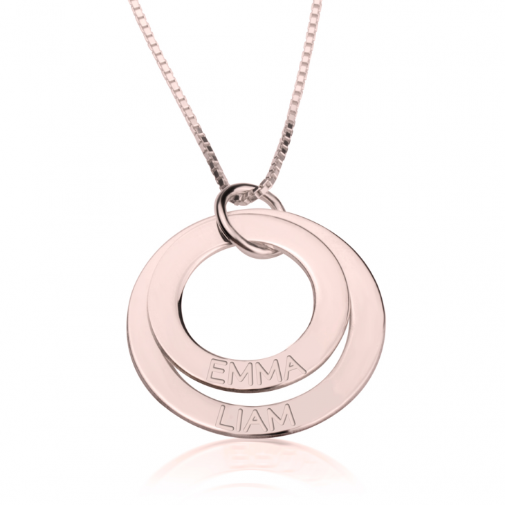 Rose Gold Engraved Rings Mother Necklace  - Picture 2