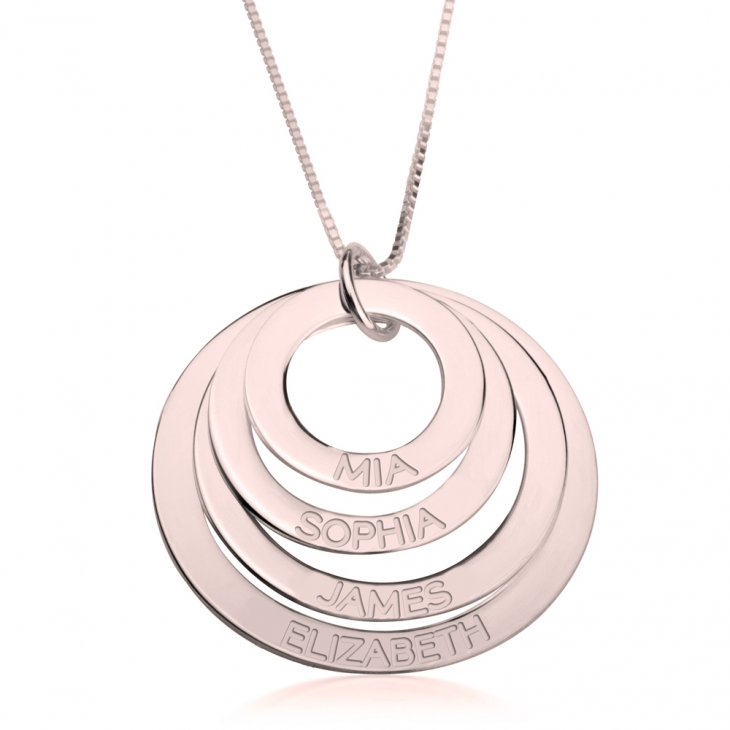Rose Gold Engraved Rings Mother Necklace  - Picture 3