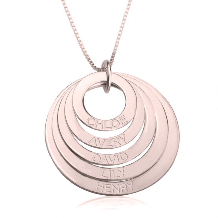 Rose Gold Engraved Rings Mother Necklace  - Picture 4