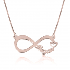 Rose Gold Cut Out Name Infinity Necklace