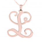 Rose Gold Curl Initial Necklace - Thumb