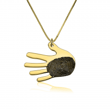 Handshape Fingerprint Necklace in Gold Plating