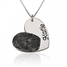 Heart and Engraved Name Fingerprint Necklace