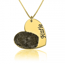 Heart and Engraved Name Fingerprint Necklace in Gold Plating