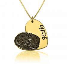 Collier Cœur avec Empreinte Digitale et Prénom Gravés en Plaqué Or
