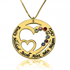 Engraved Mom Birthstone Necklace in Gold Plating