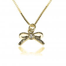 Cubic Zirconia Bow Necklace in Gold Plating