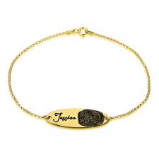 Bracelet Gourmette Empreinte Digitale en Plaqué Or