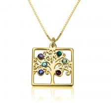 Cube Birthstone Family Tree in Gold Plating