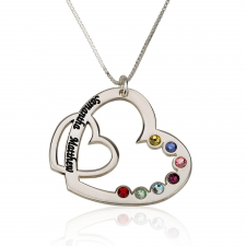 Family Heart Necklace with Parents Names & Birthstone