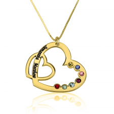 Family Heart Necklace with Parents Names and Birthstone in Gold Plating