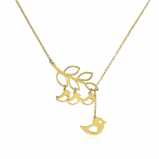 Mother and Baby Bird Necklace in Gold Plating