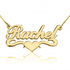 14K Gold Classic Name Necklace with Underline & Heart - Thumb