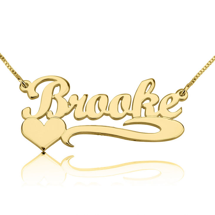 14K Gold Classic Name Necklace with Underline & Heart  - Picture 2