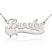 14k White Gold Classic Name Necklace with Underline & Heart