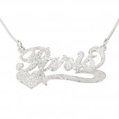 Sterling Silver Sparkling Carrie Name with Underline & Heart