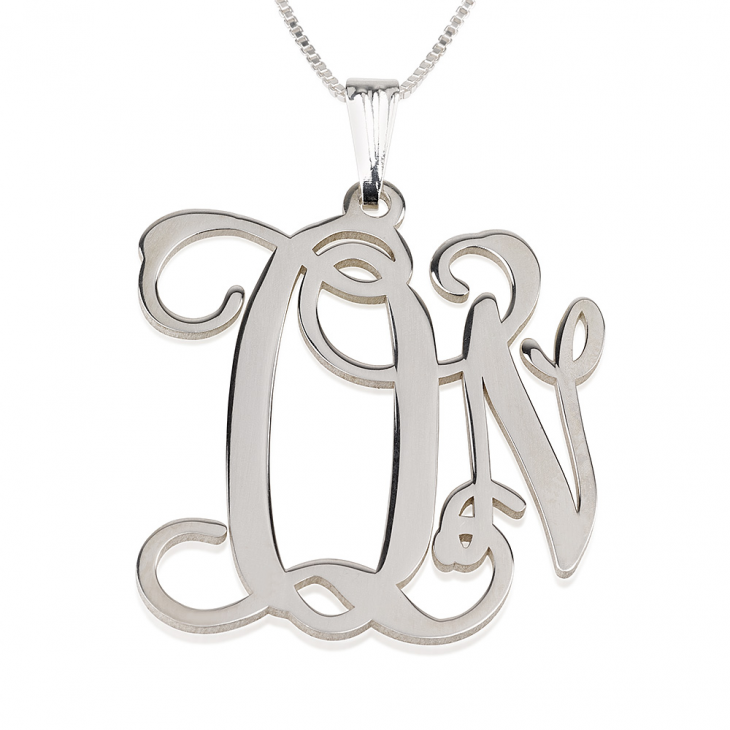 Sterling Silver Curly Two Initials Monogram Necklace