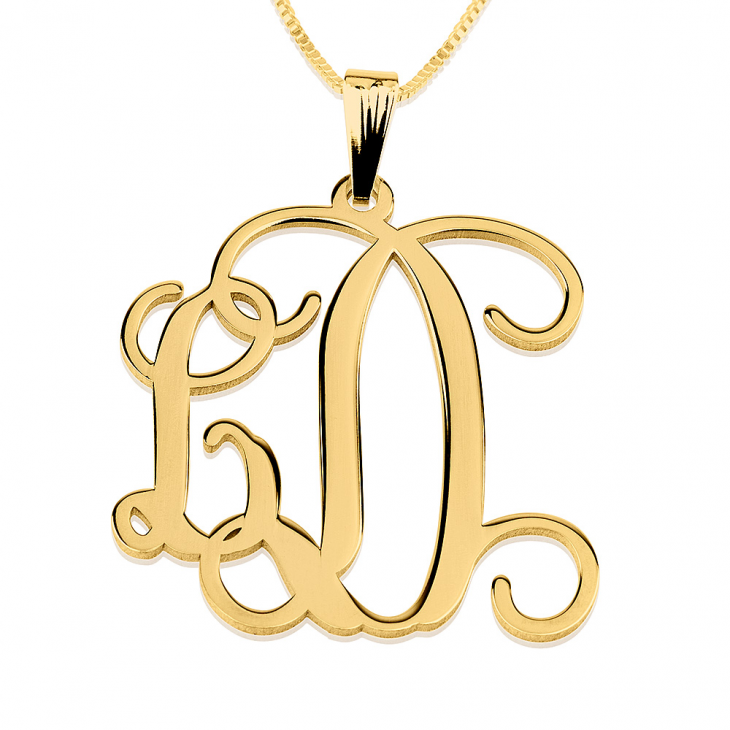 24K Gold Plated Curly Two Initials Monogram Necklace  - Picture 2