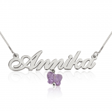 14k White Gold Classic Name Necklace with Hanging Coloured Butterfly