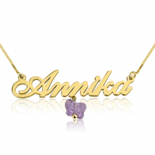 24K Gold Plated Classic Name Necklace with Hanging Coloured Butterfly