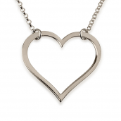 Sterling Silver Hanging Open Heart Necklace
