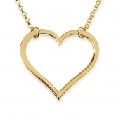 24k Gold Plated Hanging Open Heart Necklace