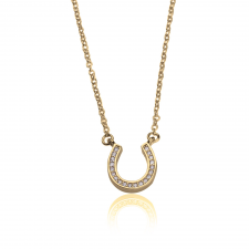 Cubic Zirconia Horseshoe Necklace  in Gold Plating