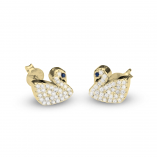 Cubic Zirconia Swan Earrings in Gold Plating