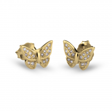 Cubic Zirconia Butterfly Earrings  in Gold Plating
