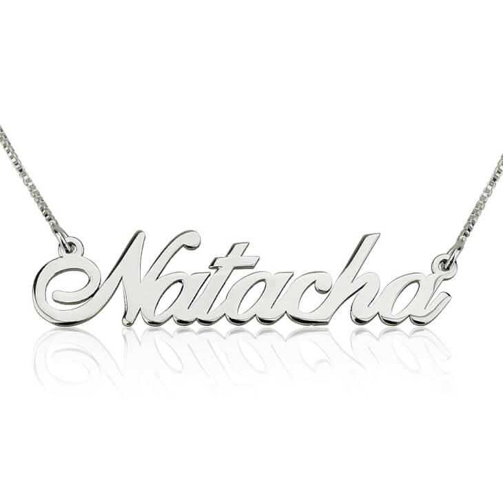 14K White Gold Alegro Name Necklace