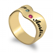 Two Names Engraved Ring with Birthstones in Gold Plating