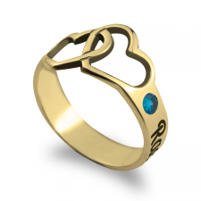 Two Cut Out Hearts Ring with Engraved Hearts  in Gold Plating