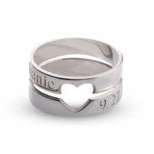 Couple Rings with Cut Out Heart