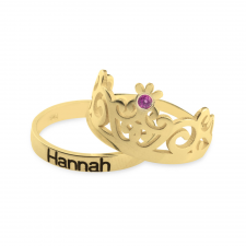 Crown Couple Rings in Gold Plating