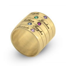 Two - Six Birthstone Ring for Mother in Gold Plating