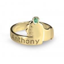 Baby Footprint Birthstone Ring in Gold Plating