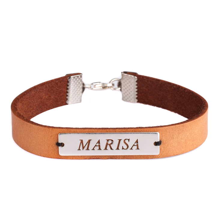 Engraved Name Leather Bracelets
