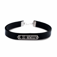 Personalized Cut Out Roman Numeral Leather Bracelet